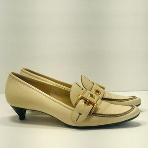 Authentic Prada VeroCuoio Leather Beige Heel Shoes